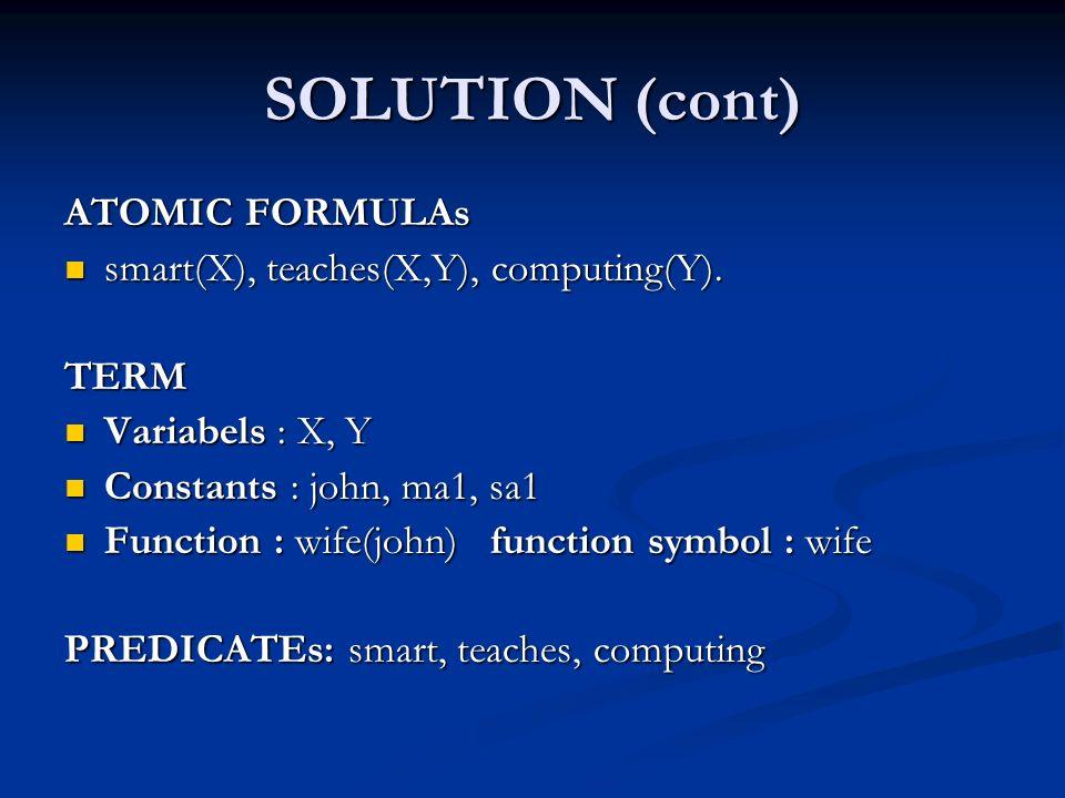 SOLUTION (cont) ATOMIC FORMULAs smart(X), teaches(X,Y), computing(Y).