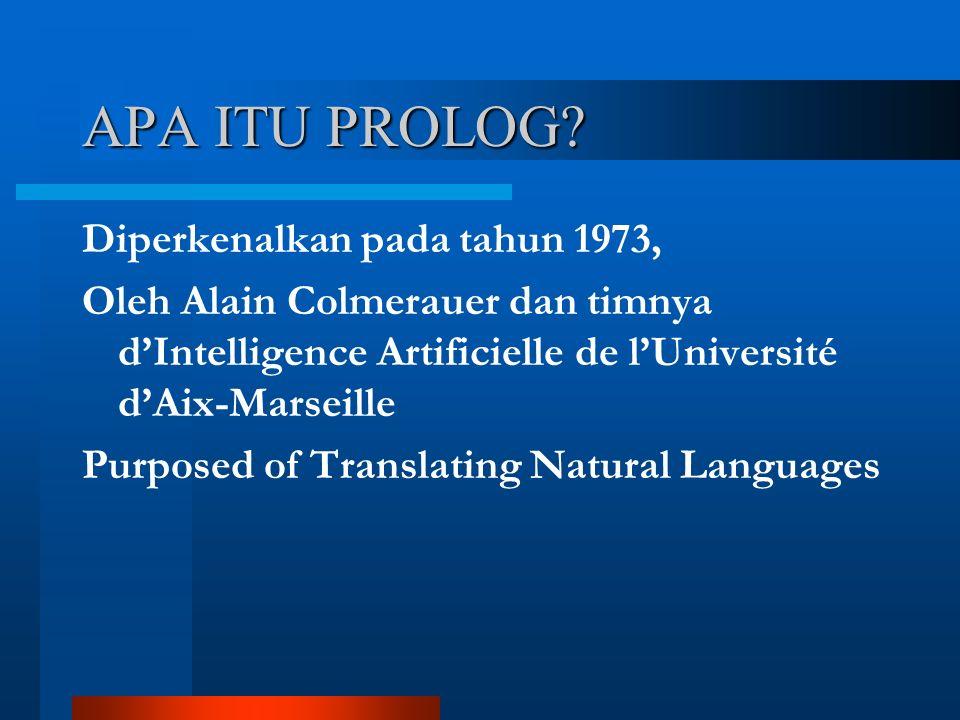 Diperkenalkan pada tahun 1973, Oleh Alain Colmerauer dan timnya d'Intelligence Artificielle de l'Université d'Aix-Marseille Purposed of Translating Natural Languages APA ITU PROLOG?