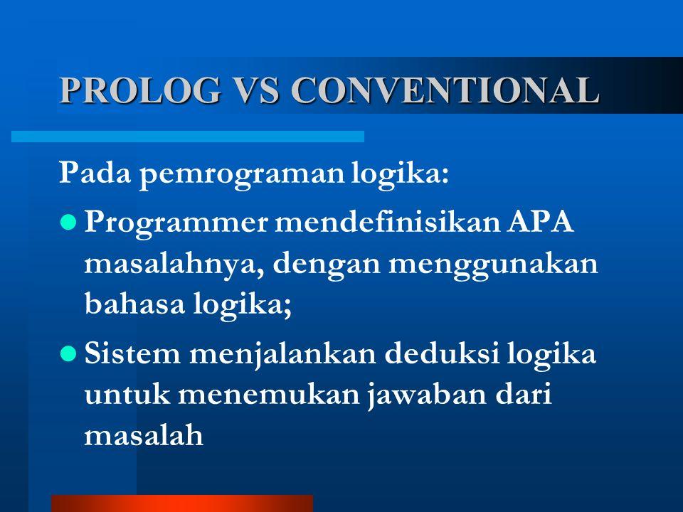 Pada pemrograman logika: Programmer mendefinisikan APA masalahnya, dengan menggunakan bahasa logika; Sistem menjalankan deduksi logika untuk menemukan jawaban dari masalah PROLOG VS CONVENTIONAL