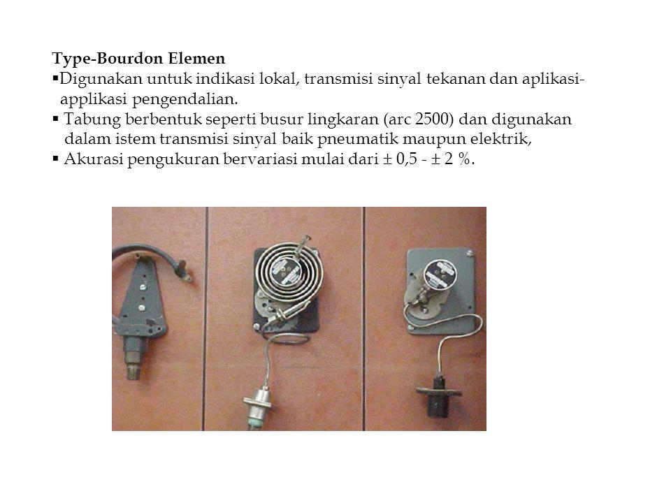 Type-Bourdon Elemen  Digunakan untuk indikasi lokal, transmisi sinyal tekanan dan aplikasi- applikasi pengendalian.  Tabung berbentuk seperti busur