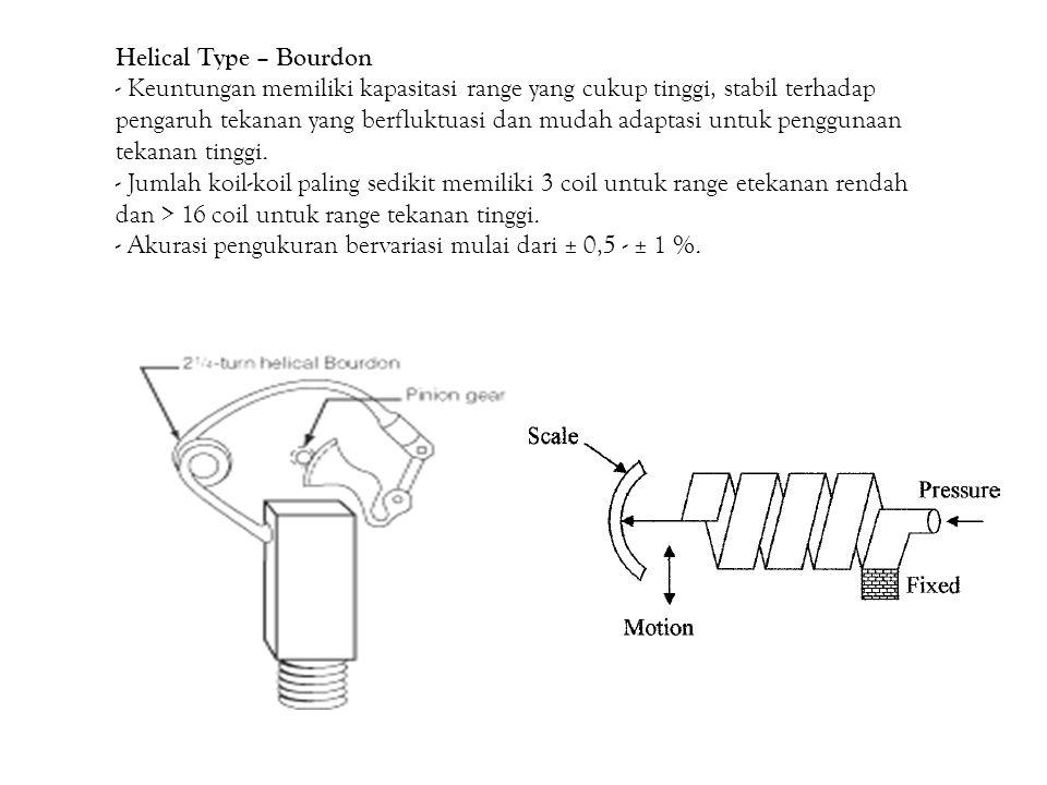 Helical Type – Bourdon - Keuntungan memiliki kapasitasi range yang cukup tinggi, stabil terhadap pengaruh tekanan yang berfluktuasi dan mudah adaptasi