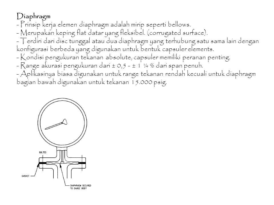 Diaphragm - Prinsip kerja elemen diaphragm adalah mirip seperti bellows. - Merupakan keping flat datar yang fleksibel. (corrugated surface). - Terdiri