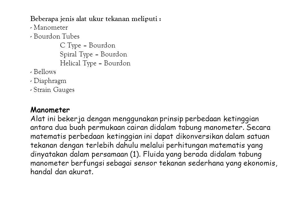 Beberapa jenis alat ukur tekanan meliputi : - Manometer - Bourdon Tubes C Type – Bourdon Spiral Type – Bourdon Helical Type – Bourdon - Bellows - Diap