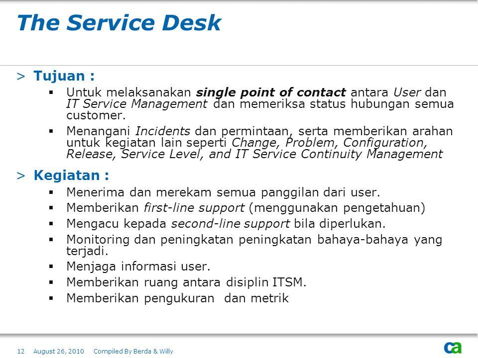 The Service Desk >Tujuan :  Untuk melaksanakan single point of contact antara User dan IT Service Management dan memeriksa status hubungan semua cust