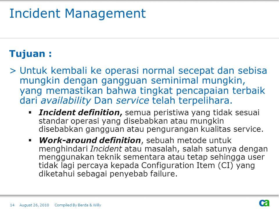 Incident Management Tujuan : >Untuk kembali ke operasi normal secepat dan sebisa mungkin dengan gangguan seminimal mungkin, yang memastikan bahwa ting