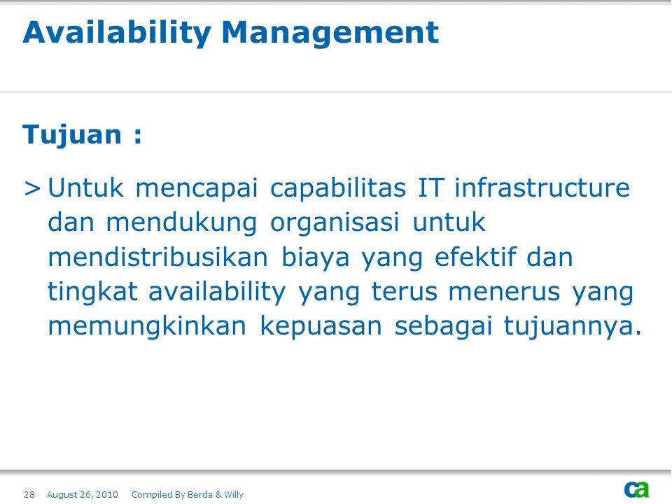 Availability Management Tujuan : >Untuk mencapai capabilitas IT infrastructure dan mendukung organisasi untuk mendistribusikan biaya yang efektif dan