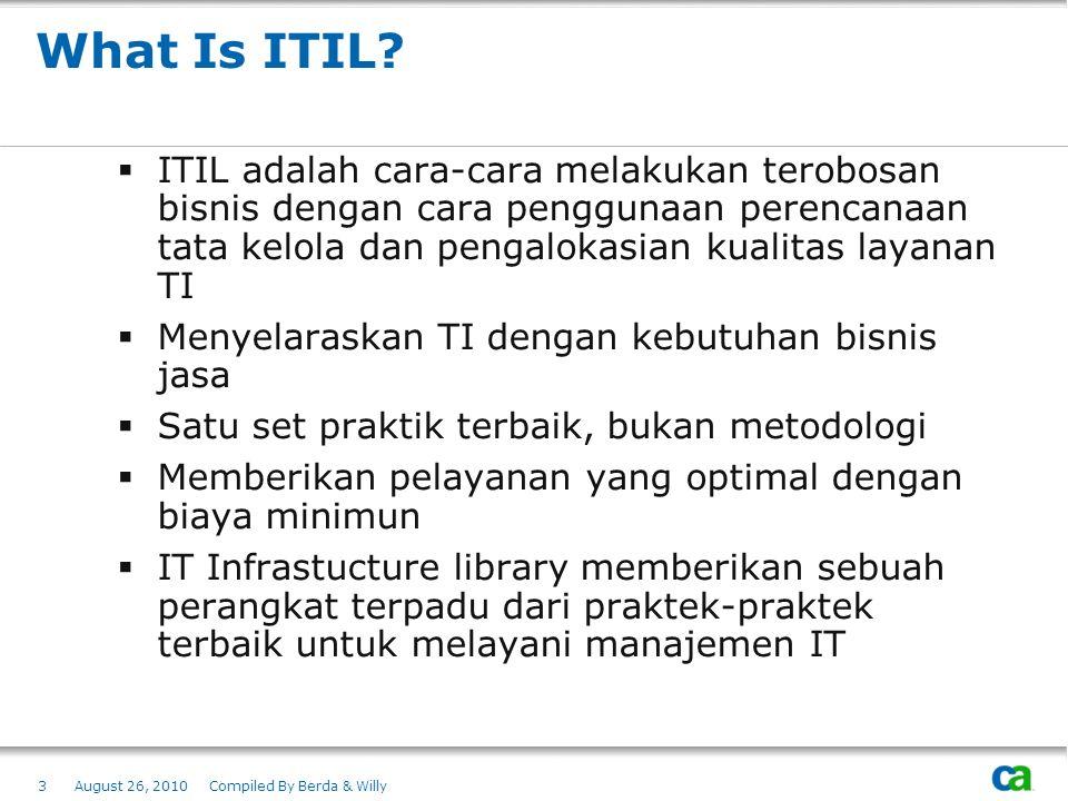 What Is ITIL?  ITIL adalah cara-cara melakukan terobosan bisnis dengan cara penggunaan perencanaan tata kelola dan pengalokasian kualitas layanan TI