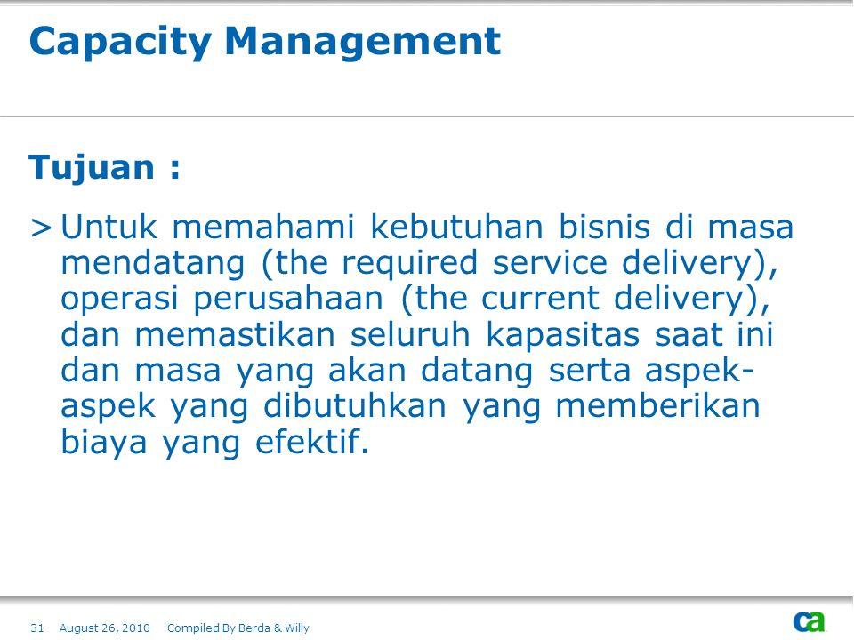 Capacity Management Tujuan : >Untuk memahami kebutuhan bisnis di masa mendatang (the required service delivery), operasi perusahaan (the current deliv