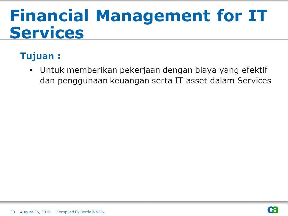 Financial Management for IT Services Tujuan :  Untuk memberikan pekerjaan dengan biaya yang efektif dan penggunaan keuangan serta IT asset dalam Serv