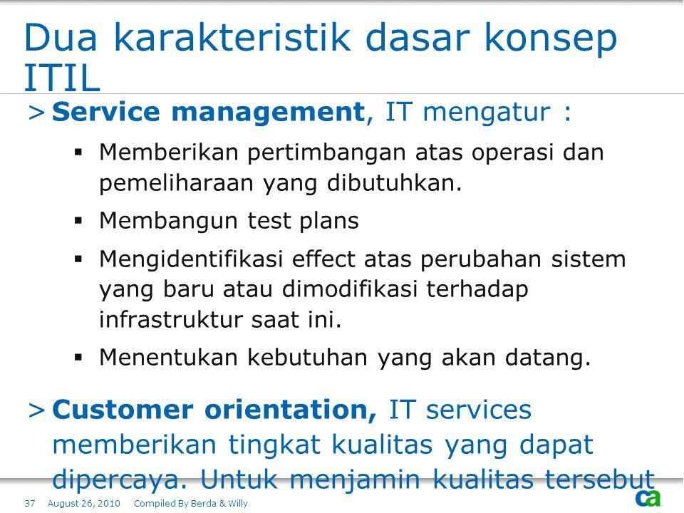 Dua karakteristik dasar konsep ITIL >Service management, IT mengatur :  Memberikan pertimbangan atas operasi dan pemeliharaan yang dibutuhkan.  Memb