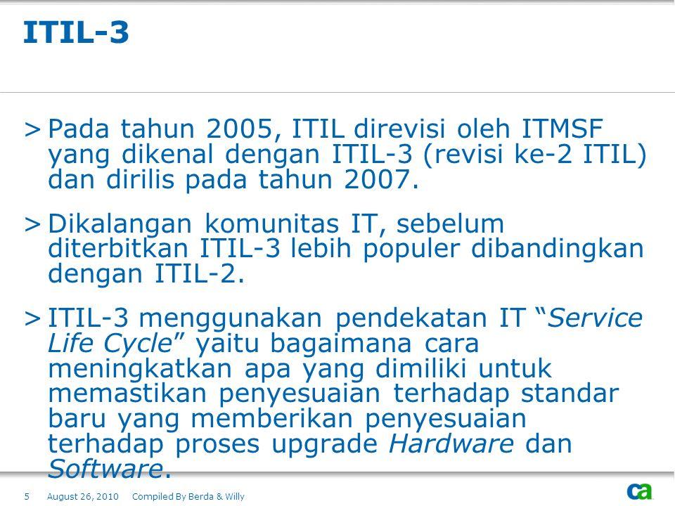 ITIL-3 >Pada tahun 2005, ITIL direvisi oleh ITMSF yang dikenal dengan ITIL-3 (revisi ke-2 ITIL) dan dirilis pada tahun 2007. >Dikalangan komunitas IT,