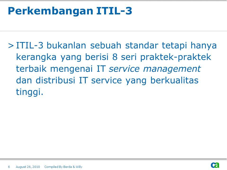 Perkembangan ITIL-3 >ITIL-3 bukanlan sebuah standar tetapi hanya kerangka yang berisi 8 seri praktek-praktek terbaik mengenai IT service management da