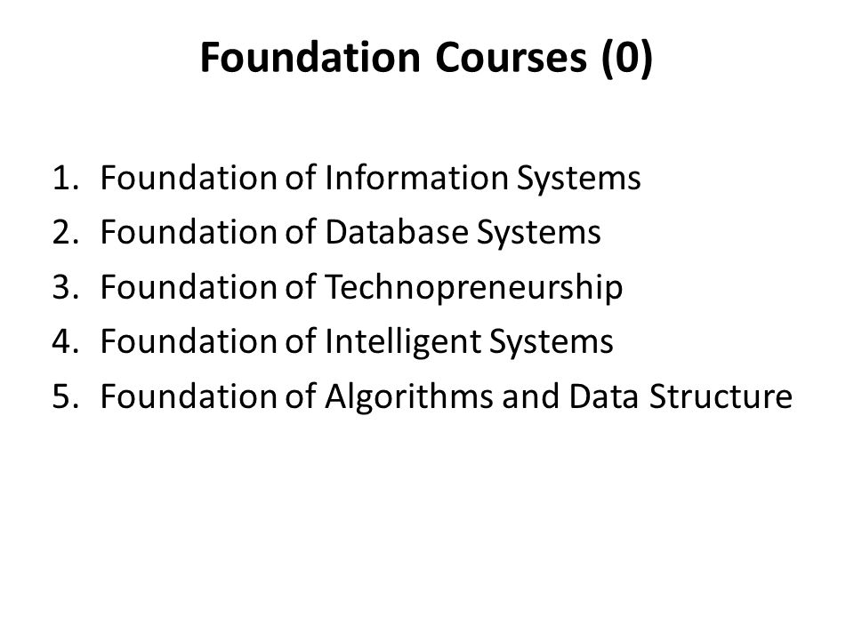 Foundation Courses (0) 1.Foundation of Information Systems 2.Foundation of Database Systems 3.Foundation of Technopreneurship 4.Foundation of Intelligent Systems 5.Foundation of Algorithms and Data Structure