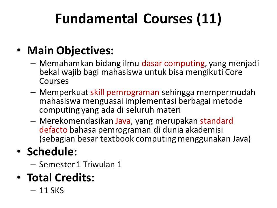 Fundamental Courses (11) Main Objectives: – Memahamkan bidang ilmu dasar computing, yang menjadi bekal wajib bagi mahasiswa untuk bisa mengikuti Core Courses – Memperkuat skill pemrograman sehingga mempermudah mahasiswa menguasai implementasi berbagai metode computing yang ada di seluruh materi – Merekomendasikan Java, yang merupakan standard defacto bahasa pemrograman di dunia akademisi (sebagian besar textbook computing menggunakan Java) Schedule: – Semester 1 Triwulan 1 Total Credits: – 11 SKS