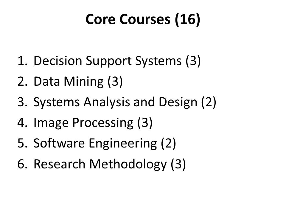 Core Courses (16) 1.Decision Support Systems (3) 2.Data Mining (3) 3.Systems Analysis and Design (2) 4.Image Processing (3) 5.Software Engineering (2) 6.Research Methodology (3)