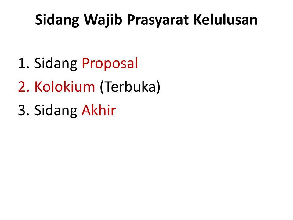 Sidang Wajib Prasyarat Kelulusan 1.Sidang Proposal 2.Kolokium (Terbuka) 3.Sidang Akhir