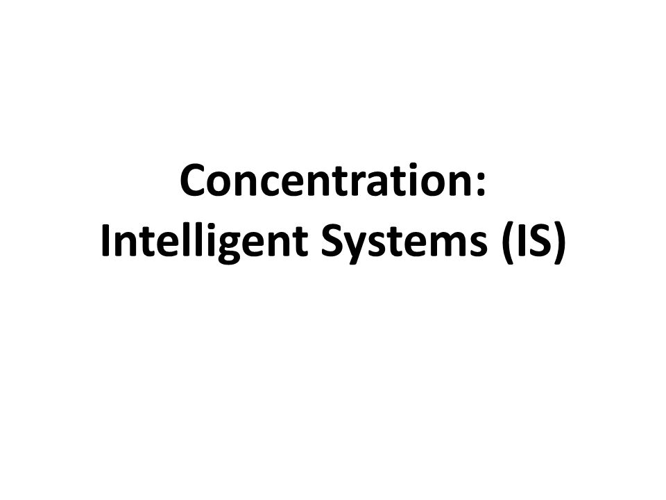 Concentration: Intelligent Systems (IS)
