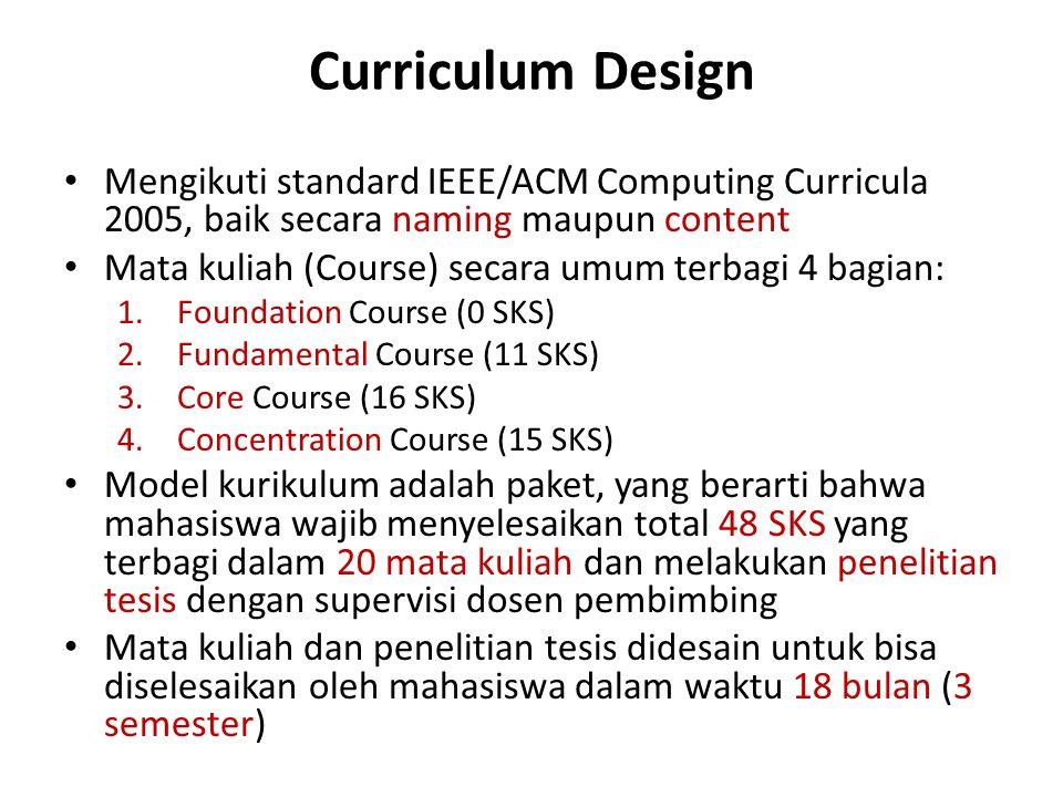Mengikuti standard IEEE/ACM Computing Curricula 2005, baik secara naming maupun content Mata kuliah (Course) secara umum terbagi 4 bagian: 1.Foundation Course (0 SKS) 2.Fundamental Course (11 SKS) 3.Core Course (16 SKS) 4.Concentration Course (15 SKS) Model kurikulum adalah paket, yang berarti bahwa mahasiswa wajib menyelesaikan total 48 SKS yang terbagi dalam 20 mata kuliah dan melakukan penelitian tesis dengan supervisi dosen pembimbing Mata kuliah dan penelitian tesis didesain untuk bisa diselesaikan oleh mahasiswa dalam waktu 18 bulan (3 semester)