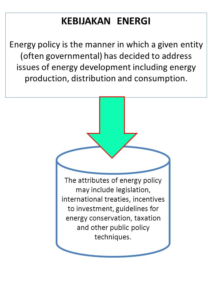 KEBIJAKAN ENERGI Energy policy is the manner in which a given entity (often governmental) has decided to address issues of energy development includin