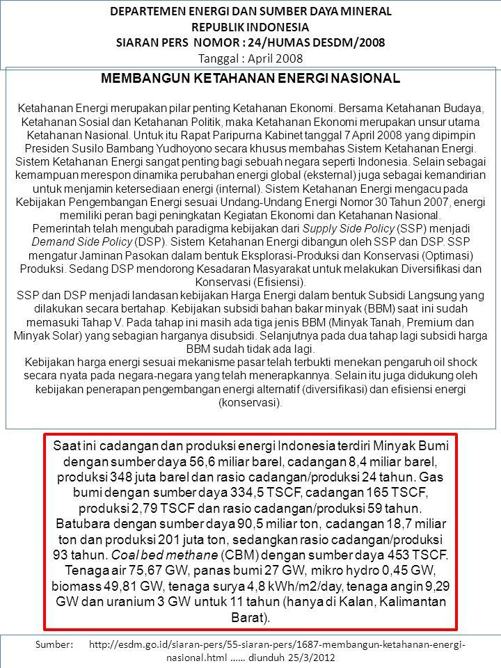DEPARTEMEN ENERGI DAN SUMBER DAYA MINERAL REPUBLIK INDONESIA SIARAN PERS NOMOR : 24/HUMAS DESDM/2008 Tanggal : April 2008 Sumber: http://esdm.go.id/siaran-pers/55-siaran-pers/1687-membangun-ketahanan-energi- nasional.html …… diunduh 25/3/2012 MEMBANGUN KETAHANAN ENERGI NASIONAL Saat ini rasio elektrifikasi telah mencapai 64 %.