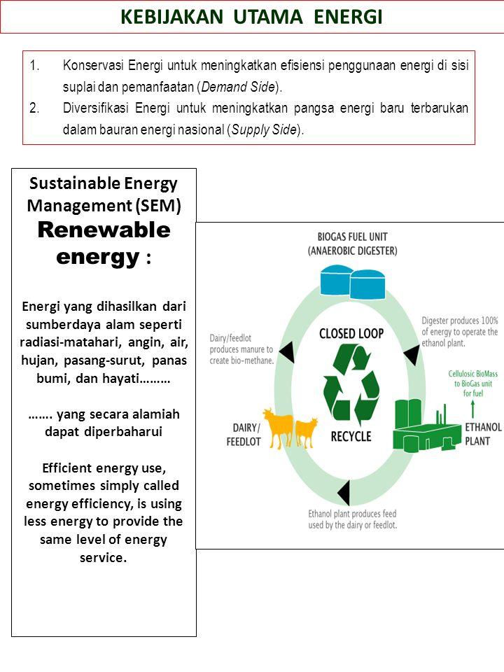 Rencana Induk Konservasi Energi Nasional (RIKEN) Rencana Induk Diversifikasi Energi Nasional (RIDEN) Rencana Induk Energi Konvensional/F osil KEBIJAKAN ENERGI SEKTORAL Kebijakan Energi Sektor Rumah Tangga Kebijakan Energi Sektor Bangunan Komersial Kebijakan Energi Sektor Transportasi Kebijakan Energi Sektor Industri KEBIJAKAN ENERGI KLASTERAL*) Energi Baru Kebijakan Energi Klaster Nuklir Kebijakan Energi Klaster Panas Bumi Energi Terbarukan Kebijakan Energi Klaster CBM Kebijakan Energi Klaster Gasified Coal Kebijakan Energi Klaster Liquified Coal Kebijakan Energi Klaster Hidrogen Kebijakan Energi Klaster Hidro Kebijakan Energi Klaster Bioenergi Kebijakan Energi Klaster Energi Surya Kebijakan Energi Klaster Energi Angin Kebijakan Energi Klaster Samudera Kebijakan Energi Klaster Minyak Bumi Kebijakan Energi Klaster Gas Bumi Kebijakan Energi Klaster Batubara Visi Energi Baru Terbarukan 25/25 *) Klaster sesuai dengan UU 30/2007 tentang Energi Energi Tak Terbarukan Sisi kebutuhan Sisi Penyediaan