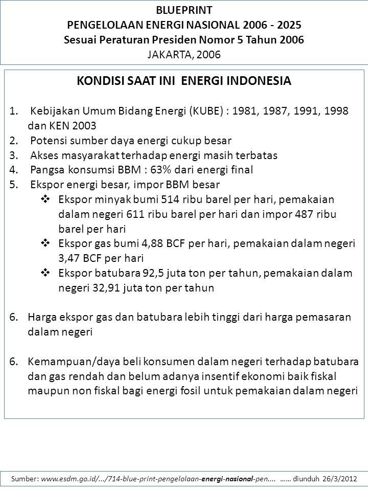 BLUEPRINT PENGELOLAAN ENERGI NASIONAL 2006 - 2025 Sesuai Peraturan Presiden Nomor 5 Tahun 2006 JAKARTA, 2006 Sumber: www.esdm.go.id/.../714-blue-print-pengelolaan-energi-nasional-pen....