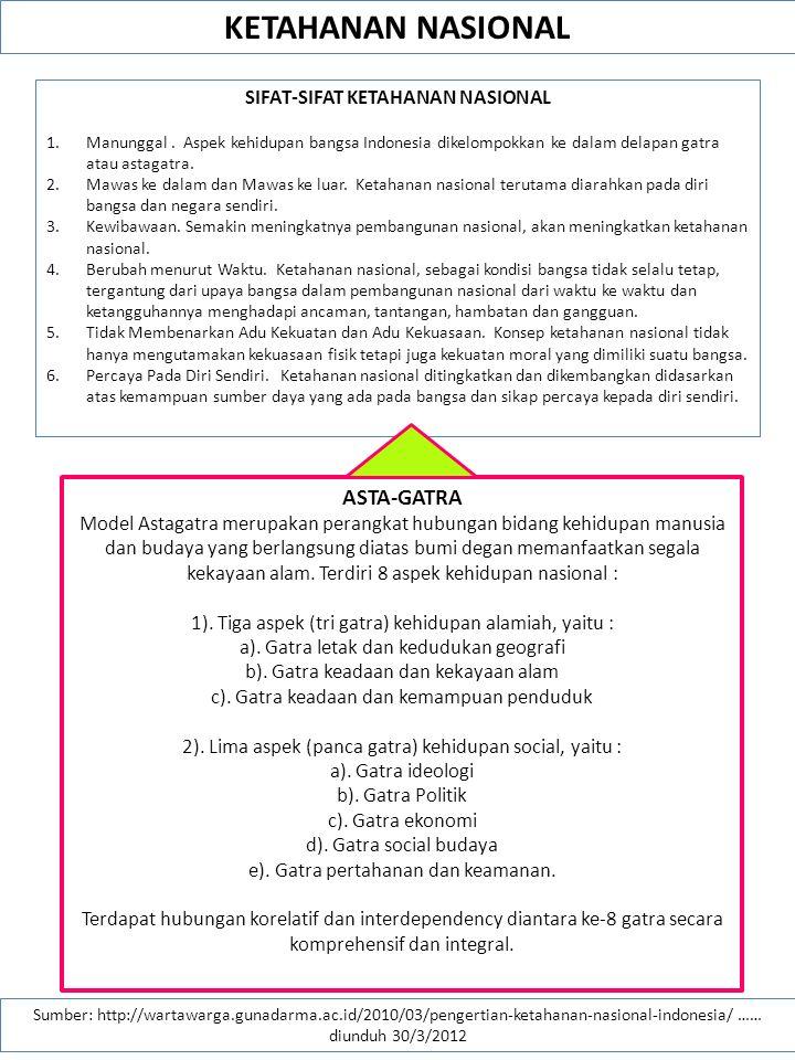 KETAHANAN NASIONAL Sumber: http://wartawarga.gunadarma.ac.id/2010/03/pengertian-ketahanan-nasional-indonesia/ …… diunduh 30/3/2012 KATA KUNCI DALAM KONSEP KETAHANAN NASIONAL 1.Keuletan merupakan kualitas diri.
