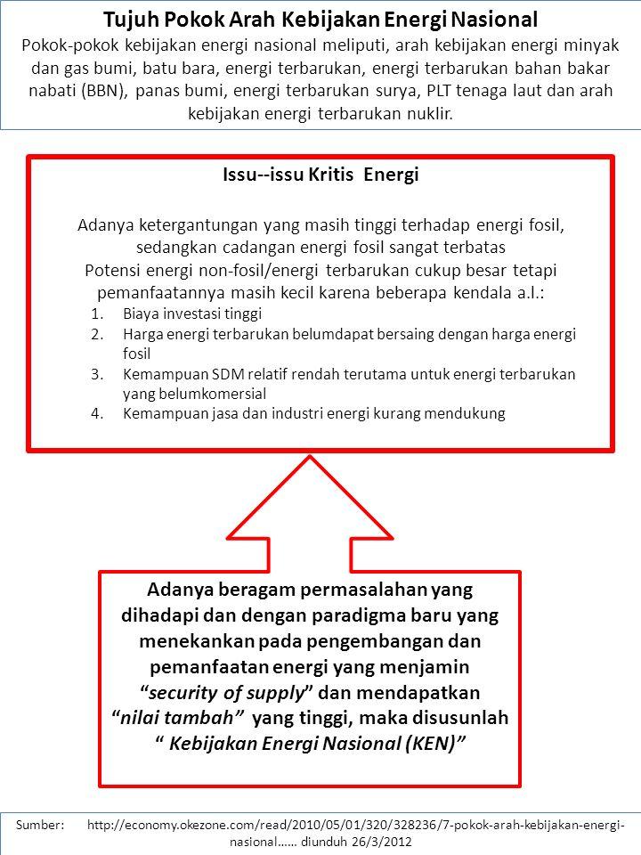 Sumber: http://economy.okezone.com/read/2010/05/01/320/328236/7-pokok-arah-kebijakan-energi- nasional…… diunduh 26/3/2012 III.