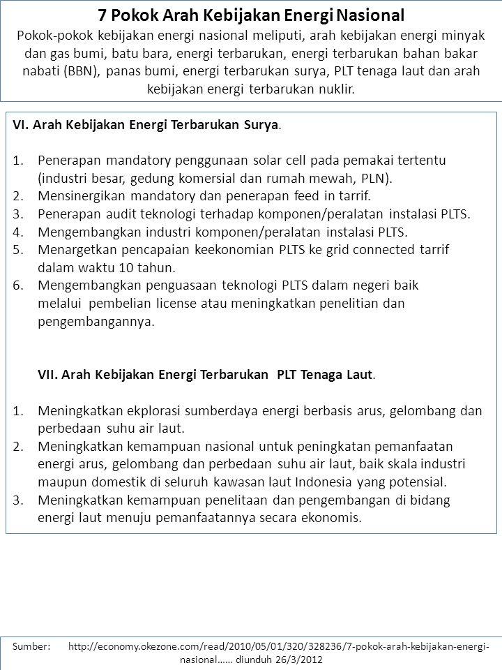 Sumber: http://economy.okezone.com/read/2010/05/01/320/328236/7-pokok-arah-kebijakan-energi- nasional…… diunduh 26/3/2012 VII.