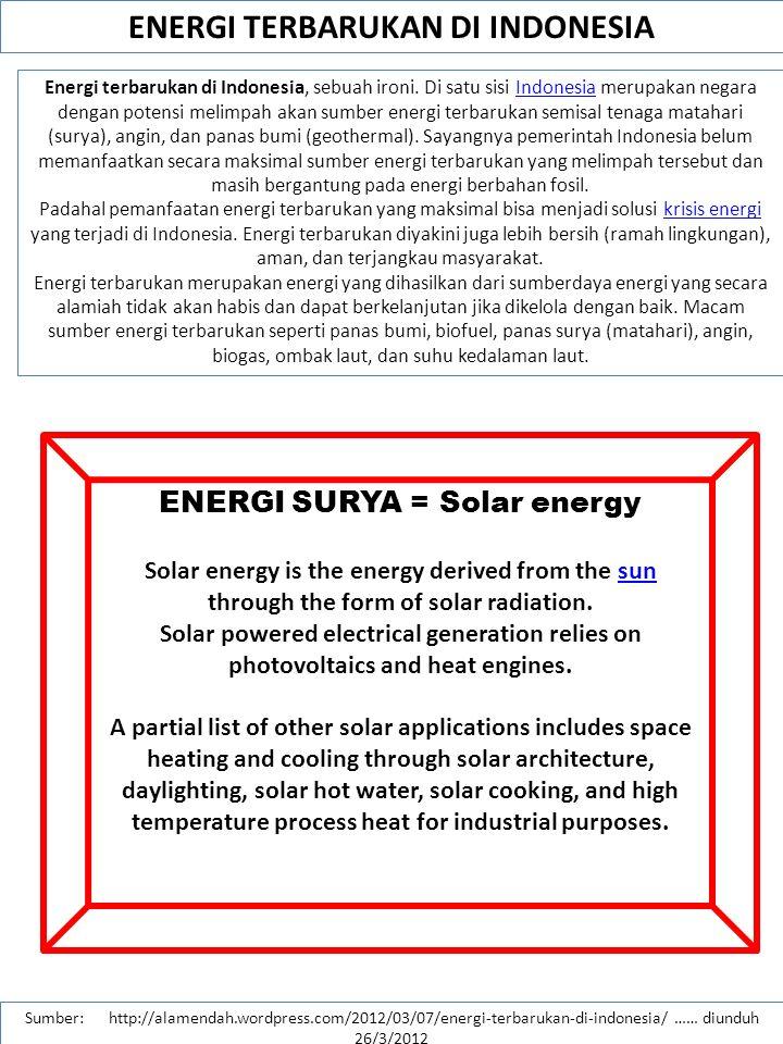 ENERGY SUPPLY SIDE MANAGEMENT ENERGY DEMAND SIDE MANAGEMENT PERUBAHAN PARADIGMA PENGELOLAAN ENERGI SUPPLY DEMAND Saat ini: Ke depan: 1.