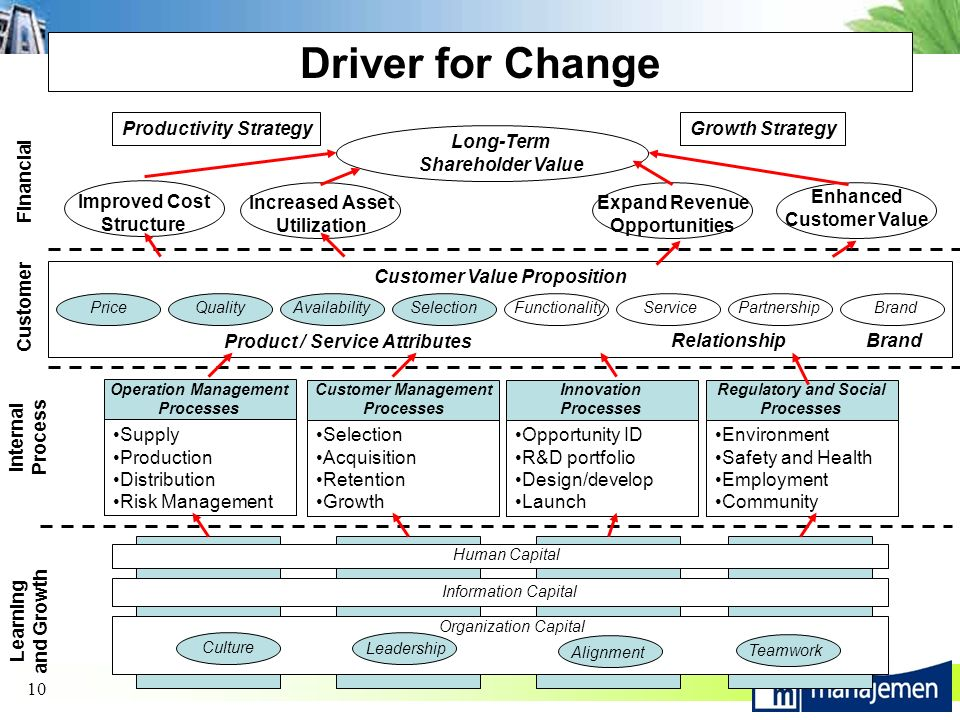 10 Driver for Change Organization Capital Information Capital Human Capital Teamwork Alignment Leadership Culture Supply Production Distribution Risk Management Operation Management Processes Selection Acquisition Retention Growth Customer Management Processes Opportunity ID R&D portfolio Design/develop Launch Innovation Processes Environment Safety and Health Employment Community Regulatory and Social Processes PriceQualityAvailabilitySelectionFunctionalityServicePartnershipBrand Product / Service Attributes RelationshipBrand Customer Value Proposition Long-Term Shareholder Value Improved Cost Structure Increased Asset Utilization Expand Revenue Opportunities Enhanced Customer Value Learning and Growth Internal Process Customer Financial Productivity StrategyGrowth Strategy