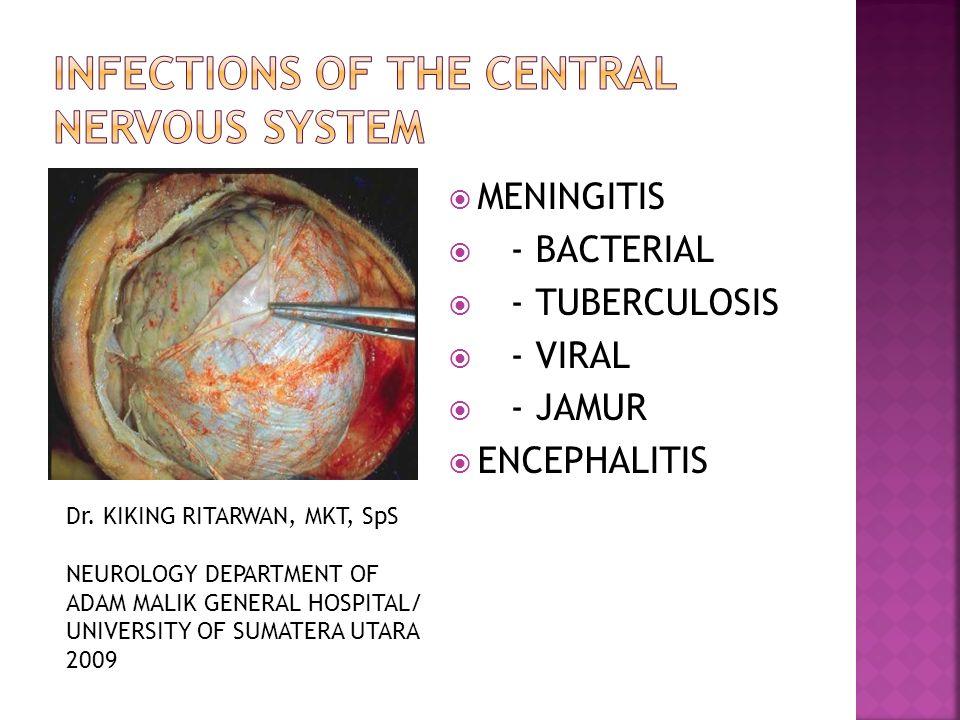  MENINGITIS  - BACTERIAL  - TUBERCULOSIS  - VIRAL  - JAMUR  ENCEPHALITIS Dr. KIKING RITARWAN, MKT, SpS NEUROLOGY DEPARTMENT OF ADAM MALIK GENERA