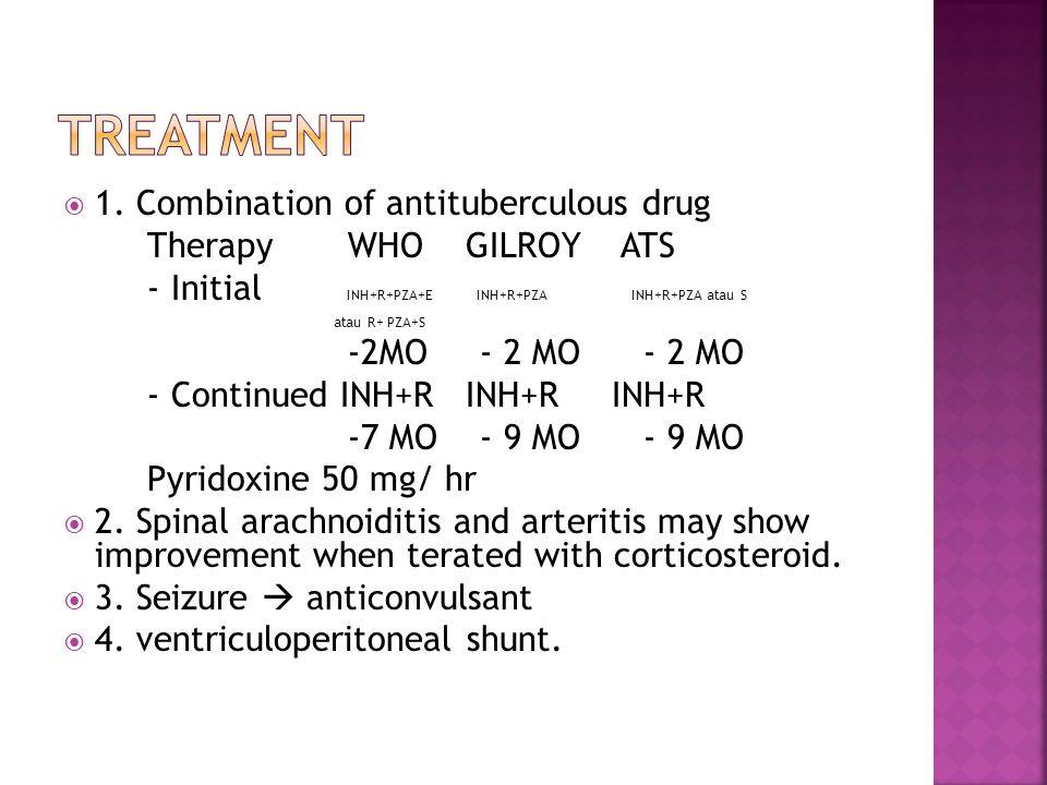  1. Combination of antituberculous drug Therapy WHO GILROY ATS - Initial INH+R+PZA+E INH+R+PZA INH+R+PZA atau S atau R+ PZA+S -2MO - 2 MO - 2 MO - Co