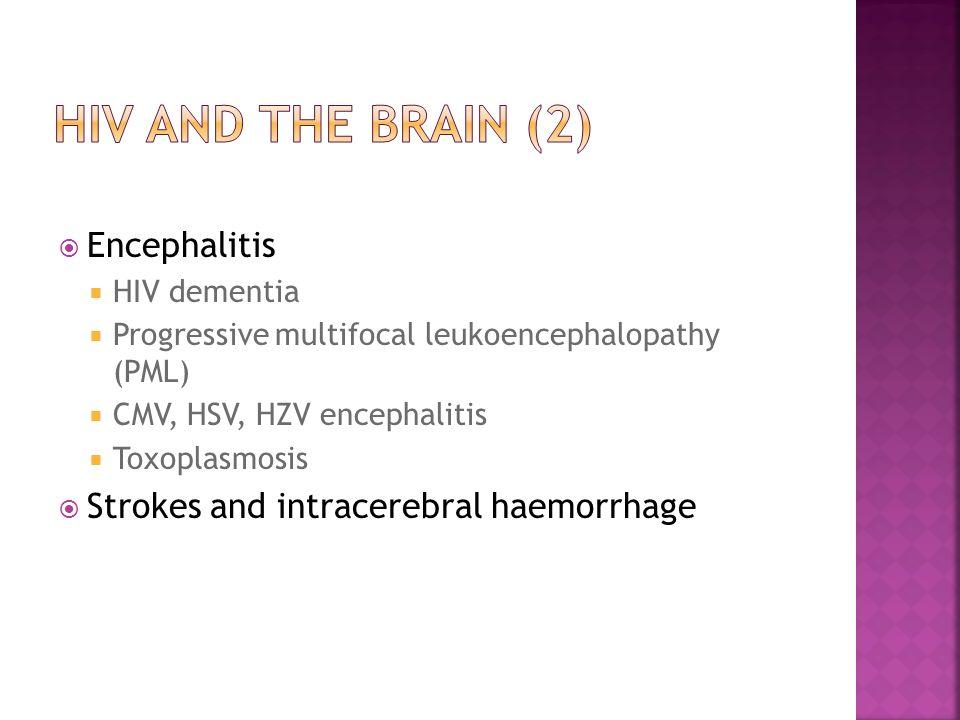  Encephalitis  HIV dementia  Progressive multifocal leukoencephalopathy (PML)  CMV, HSV, HZV encephalitis  Toxoplasmosis  Strokes and intracereb