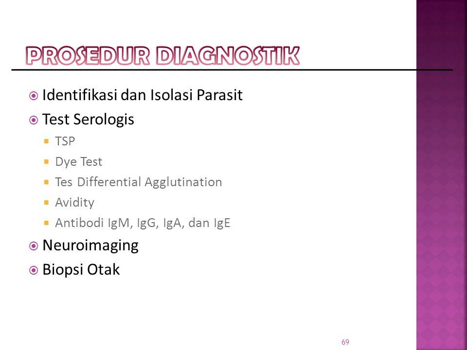  Identifikasi dan Isolasi Parasit  Test Serologis  TSP  Dye Test  Tes Differential Agglutination  Avidity  Antibodi IgM, IgG, IgA, dan IgE  Neuroimaging  Biopsi Otak 69