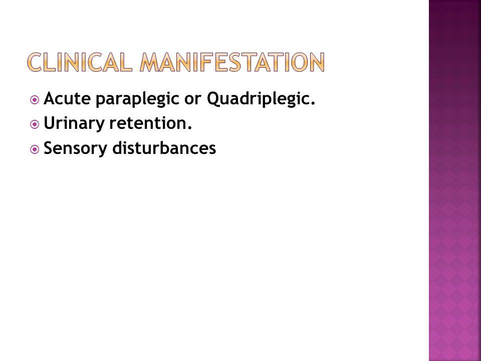  Acute paraplegic or Quadriplegic.  Urinary retention.  Sensory disturbances