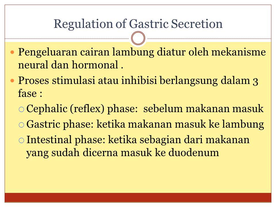Regulation of Gastric Secretion Pengeluaran cairan lambung diatur oleh mekanisme neural dan hormonal. Proses stimulasi atau inhibisi berlangsung dalam