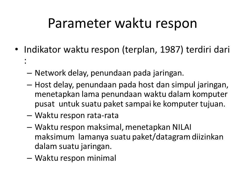 Parameter waktu respon Indikator waktu respon (terplan, 1987) terdiri dari : – Network delay, penundaan pada jaringan. – Host delay, penundaan pada ho