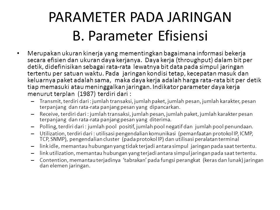 PARAMETER PADA JARINGAN B. Parameter Efisiensi Merupakan ukuran kinerja yang mementingkan bagaimana informasi bekerja secara efisien dan ukuran daya k