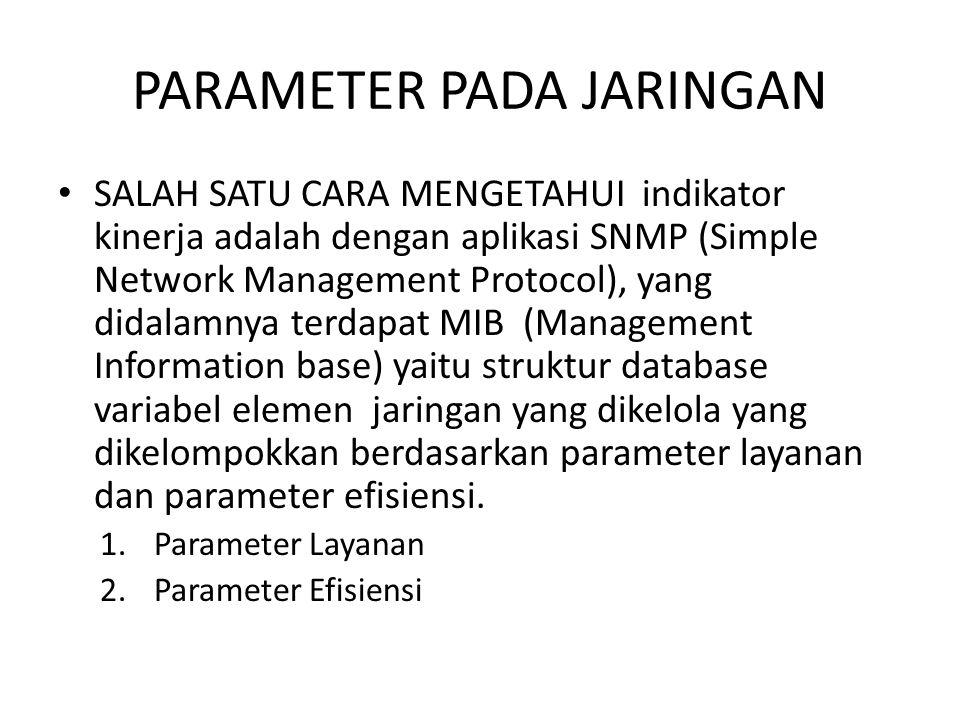 PARAMETER PADA JARINGAN SALAH SATU CARA MENGETAHUI indikator kinerja adalah dengan aplikasi SNMP (Simple Network Management Protocol), yang didalamnya