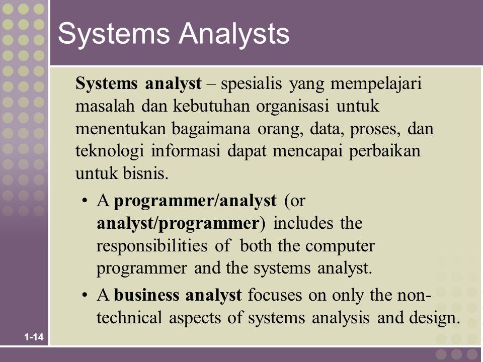 1-14 Systems Analysts Systems analyst – spesialis yang mempelajari masalah dan kebutuhan organisasi untuk menentukan bagaimana orang, data, proses, dan teknologi informasi dapat mencapai perbaikan untuk bisnis.