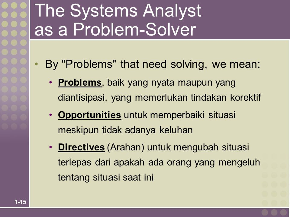 1-15 The Systems Analyst as a Problem-Solver By