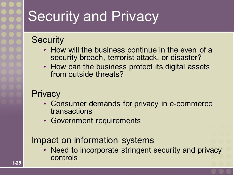 1-25 Security and Privacy Security How will the business continue in the even of a security breach, terrorist attack, or disaster.