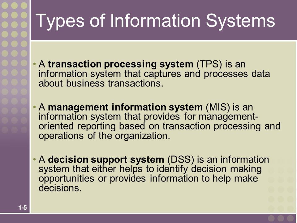 1-6 Types of Information Systems (cont.) An expert system is an information system that captures the expertise of workers and then simulates that expertise to the benefit of non-experts ( Sebuah sistem pakar adalah sistem informasi yang menangkap keahlian pekerja dan kemudian mensimulasikan keahlian yang untuk kepentingan non-ahli ).