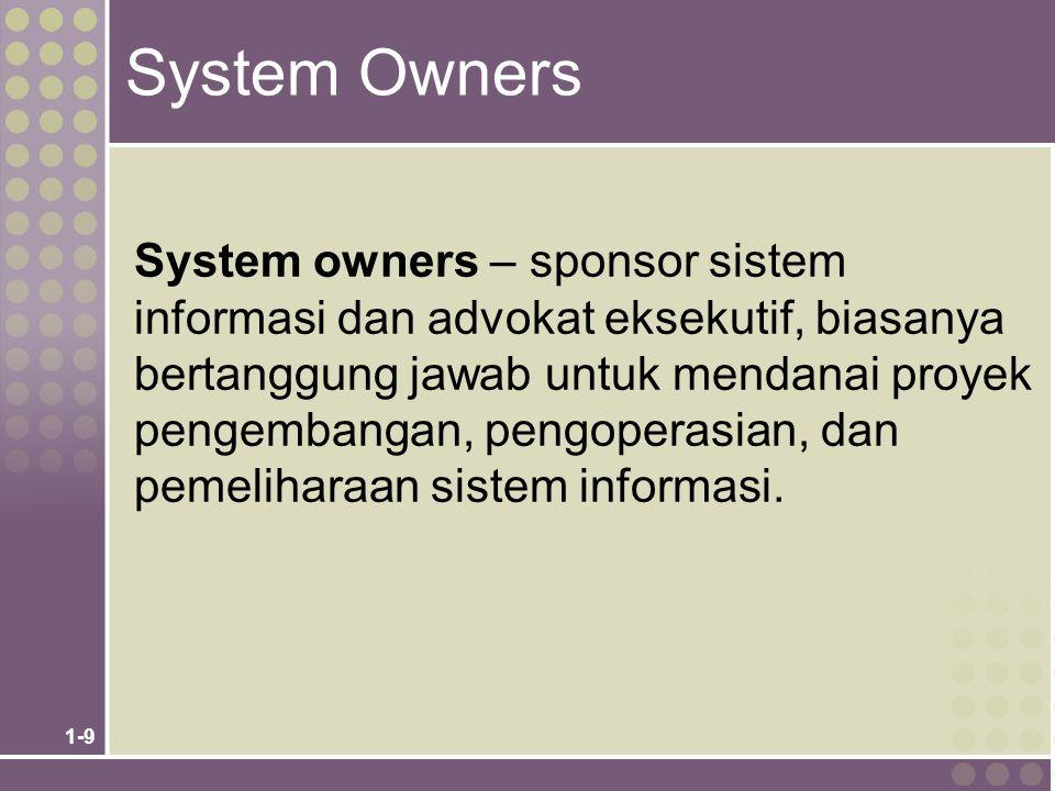 1-9 System Owners System owners – sponsor sistem informasi dan advokat eksekutif, biasanya bertanggung jawab untuk mendanai proyek pengembangan, pengoperasian, dan pemeliharaan sistem informasi.