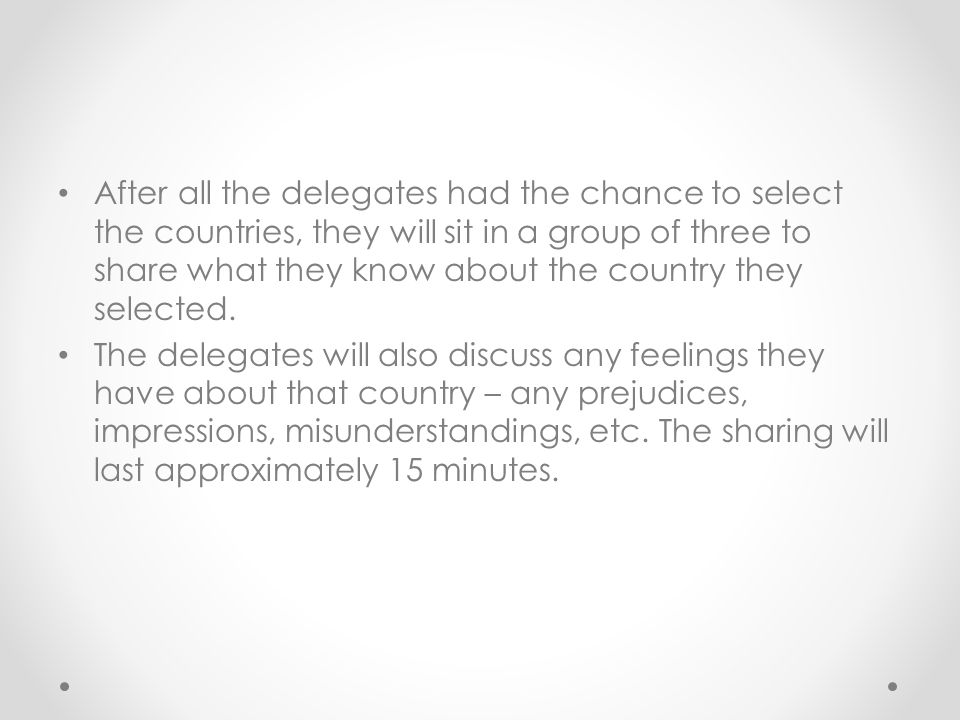 After all the delegates had the chance to select the countries, they will sit in a group of three to share what they know about the country they selected.