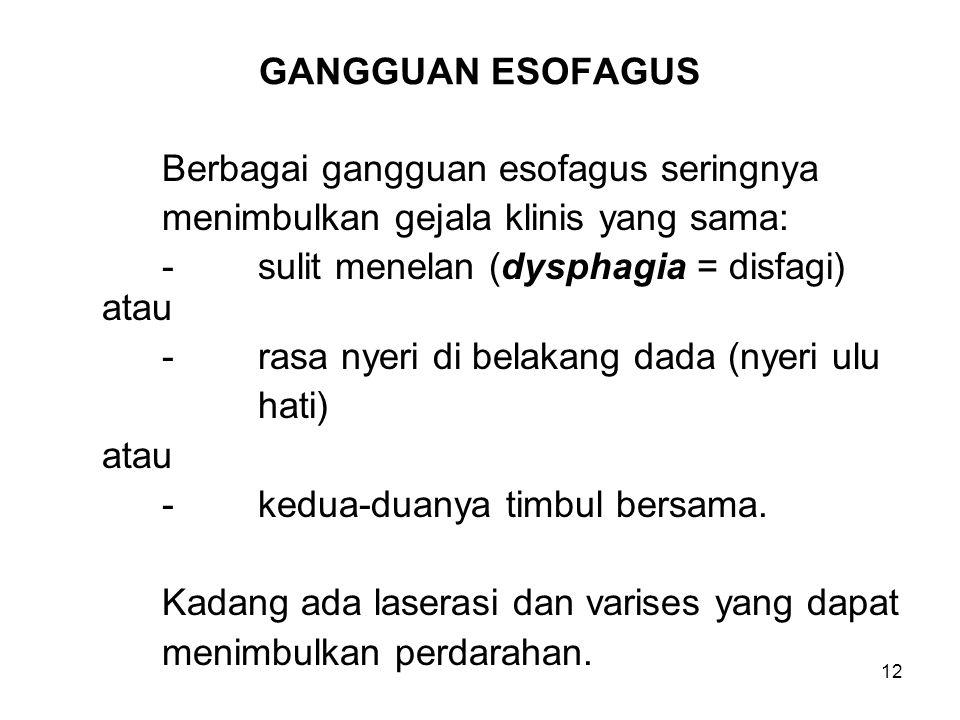 12 GANGGUAN ESOFAGUS Berbagai gangguan esofagus seringnya menimbulkan gejala klinis yang sama: -sulit menelan (dysphagia = disfagi) atau -rasa nyeri d