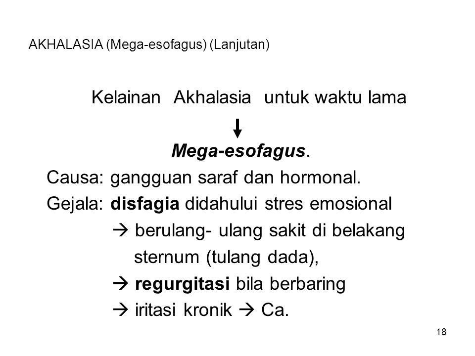 18 Kelainan Akhalasia untuk waktu lama Mega-esofagus. Causa: gangguan saraf dan hormonal. Gejala: disfagia didahului stres emosional  berulang-ulang