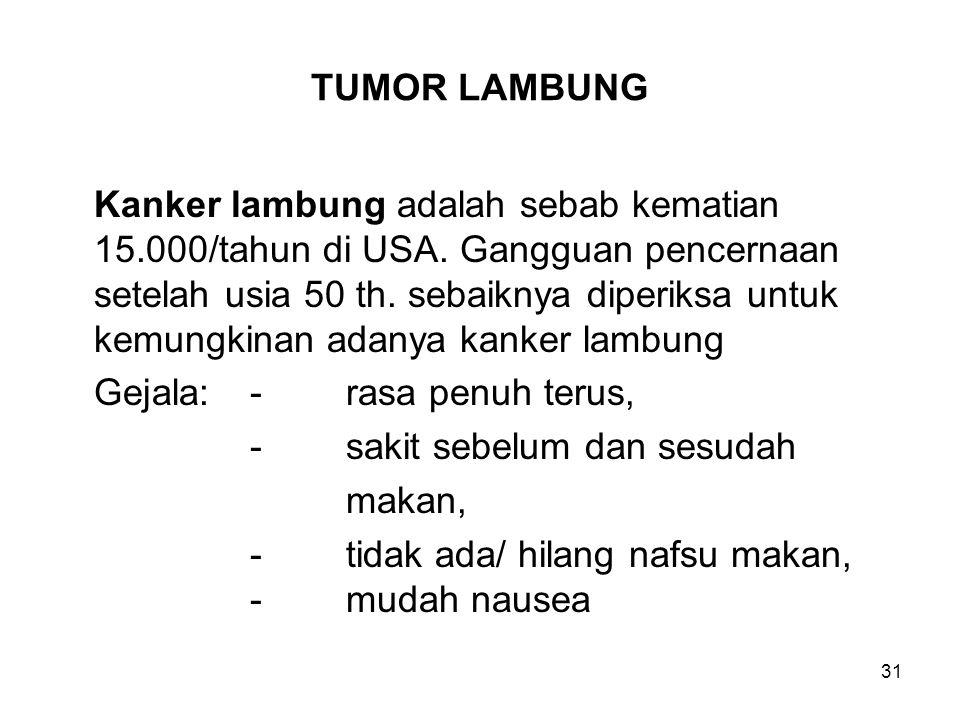 31 TUMOR LAMBUNG Kanker lambung adalah sebab kematian 15.000/tahun di USA. Gangguan pencernaan setelah usia 50 th. sebaiknya diperiksa untuk kemungkin