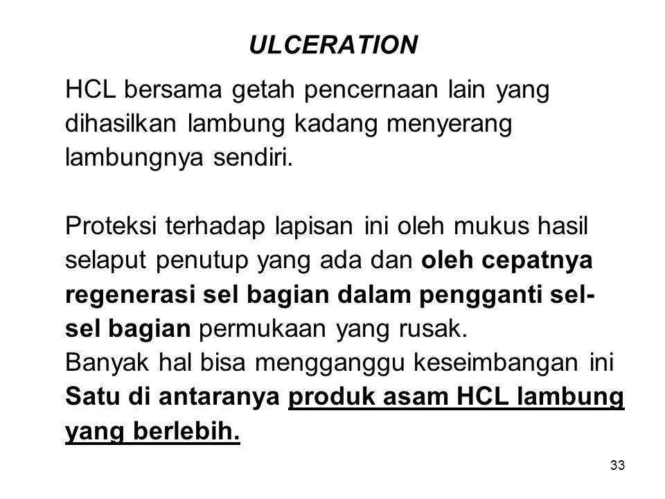 33 ULCERATION HCL bersama getah pencernaan lain yang dihasilkan lambung kadang menyerang lambungnya sendiri. Proteksi terhadap lapisan ini oleh mukus